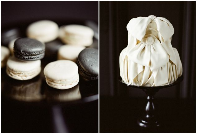 macarons and Chanel inspired, fabric effect cake photo by @Christina Brosnan
