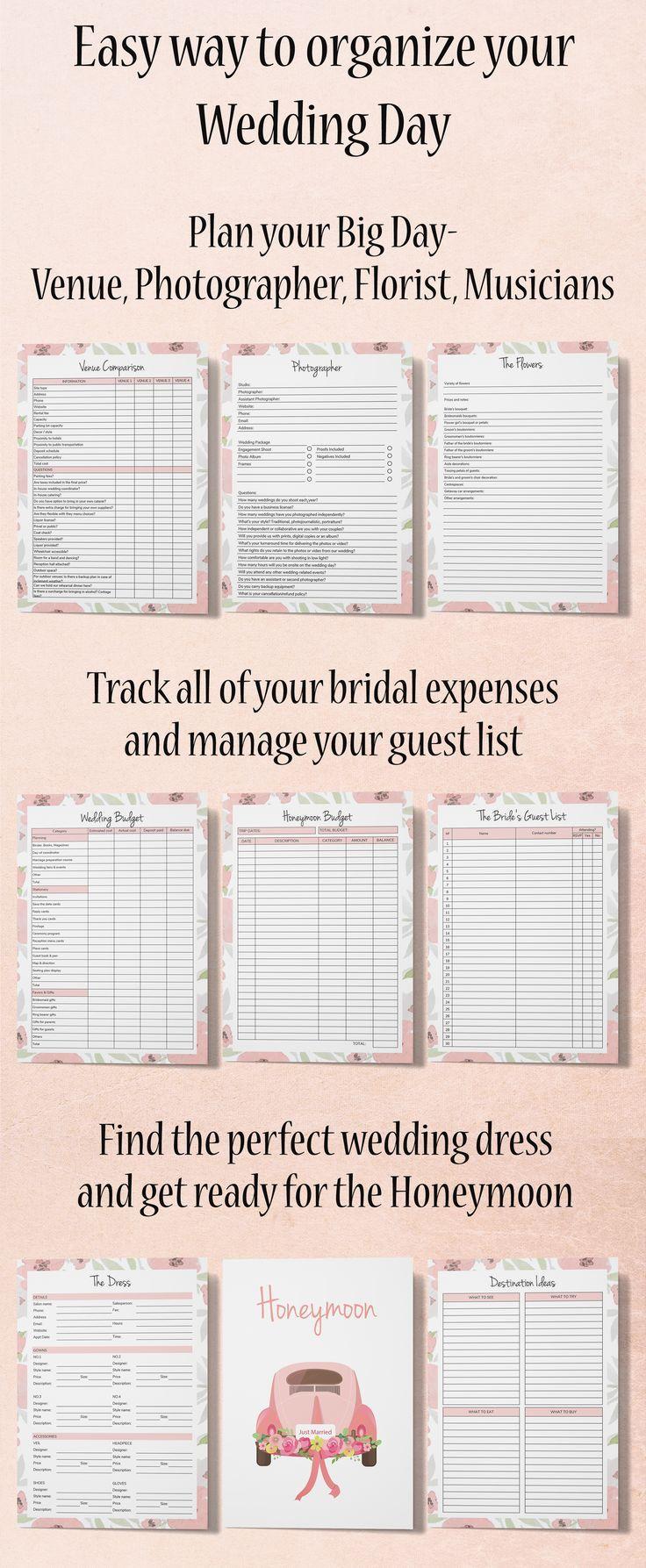 Wedding Planner Binder Wedding Planning Book Engagement Gift Etsy Wedding Planning Book Wedding Planner Printables Free Wedding Planner Printables