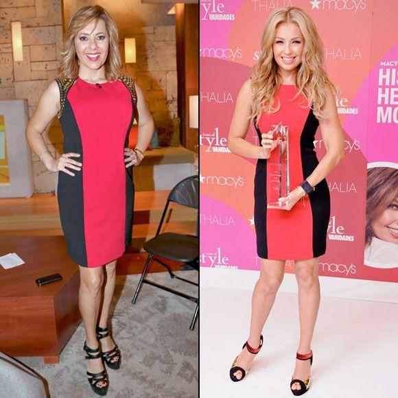 ANA MARÍA VS. THALÍA  Hace unos días Ana María Canseco lució este vestido rojo con paneles laterales negros durante la transmisión de su pro...