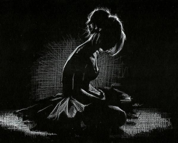 ballerina white pencil on black paper sketch by Liam Dickinson