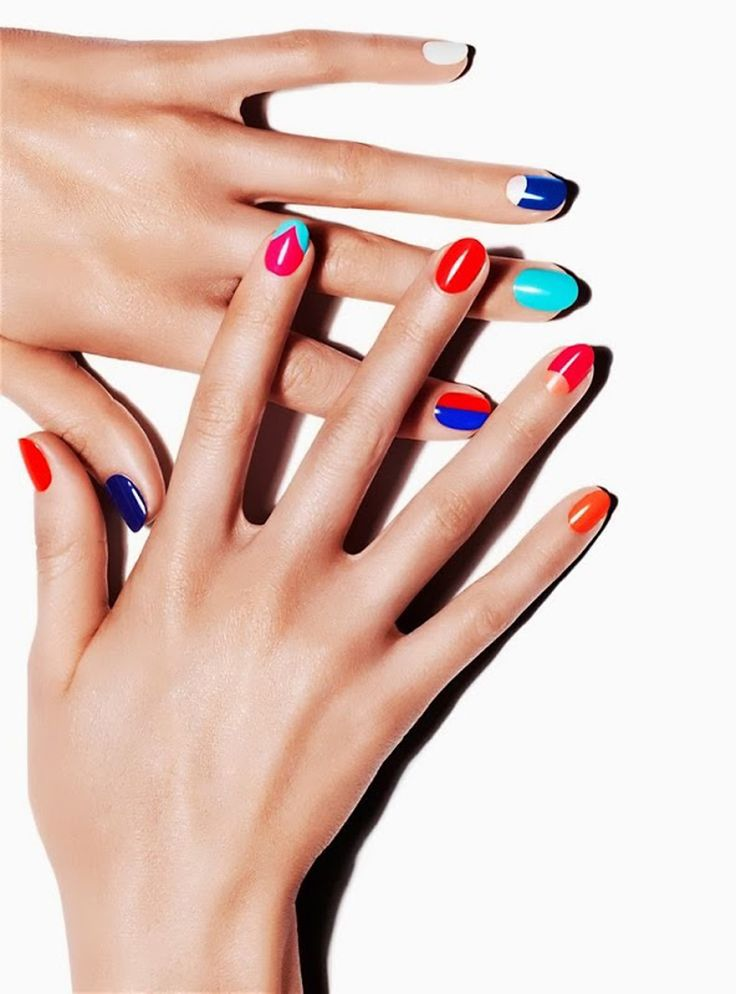 Mix and match. Bright contrast nail art.