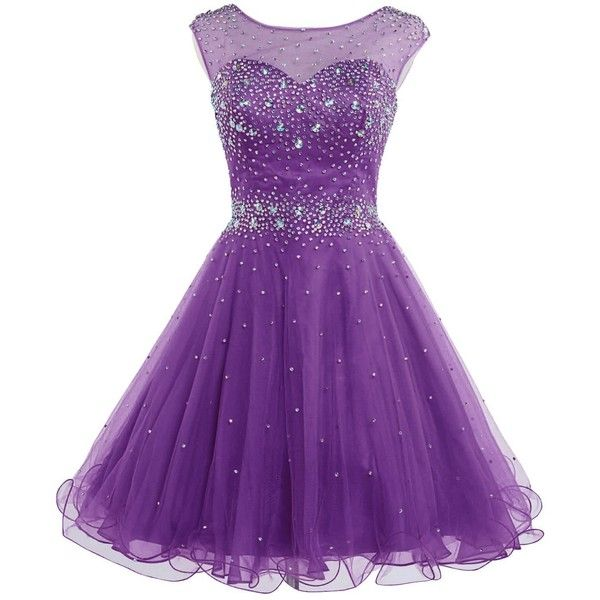 Belle House Women's Short Tulle Beading Homecoming Dress Prom Gown... ($76) ❤ liked on Polyvore featuring dresses, gowns, prom gowns, homecoming dresses, purple prom dresses, prom ball gowns and short evening dresses