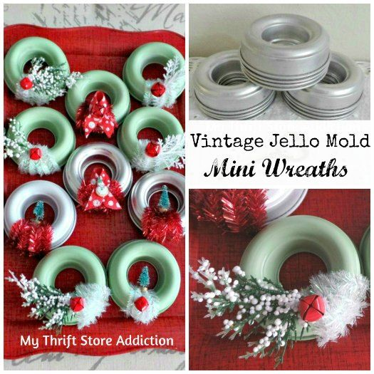 christmas decor vintage jello mold mini wreaths, christmas decorations, crafts, repurposing upcycling, seasonal holiday decor, wreaths