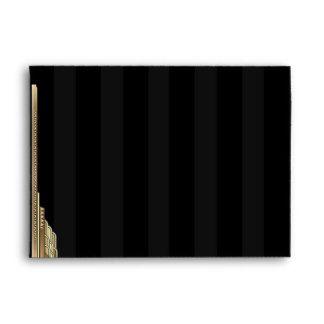 Gold Art Deco Stripe Wedding invitation RSVP envelope, Gatsby inspired design. The background is black with dark grey stripes with art deco/art nouveau style corner embellishment. Fully customizable. #personalizedwedding #personalizedmailingenvelopes FROM: http://customprintpersonalizedweddingmailingenvelopes.com bezazzled.com ❤