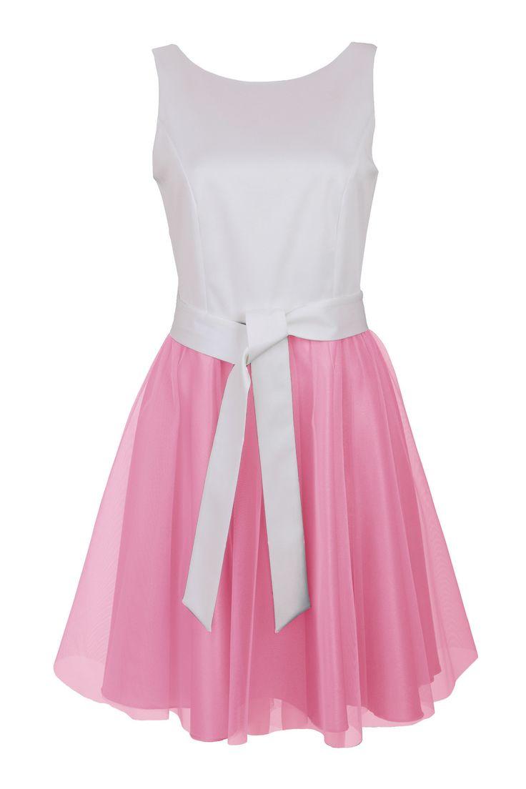 Różowa sukienka z tiulem | Outlet  Sukienki Sukienki na wesele Sukienki | Producent odzieży damskiej i sklep online DanHen