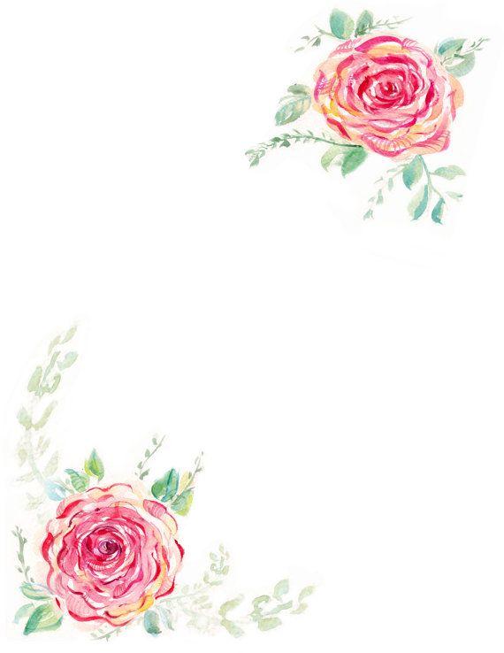downloadable watercolor rose border