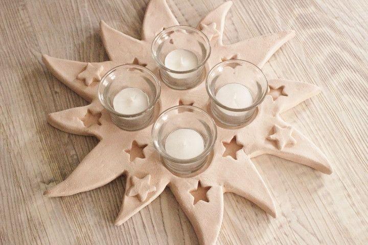 Adventskranz - Adventskranz Advent Weihnachtsdeko Keramikstern - ein Designerstück von Tonkistchen bei DaWanda