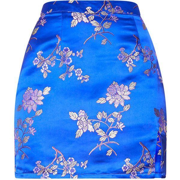 Cobalt Oriental Jacquard Split Mini Skirt ($28) ❤ liked on Polyvore featuring skirts, mini skirts, bottoms, faldas, pretty little thing, set, short blue skirt, blue skirt, short mini skirts and blue mini skirt