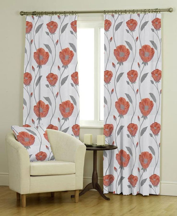 """Bonita (Spice), Orange Curtains, MADE TO MEASURE FOR EXACT FIT, Pencil Pleat (3"""" tape), Fully Lined, from 70cm width x 40cm drop to 366cm width x 380cm drop"""