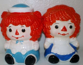 Vintage Raggedy Ann and Andy Salt And Pepper Shakers Made in Japan  Epsteam