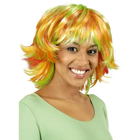 Gekleurde Pixie pruik oranje en groen  Groen en oranje Pixie pruik. Pruik met groen en oranje accenten. Wilde korte coupe met pony.  EUR 9.95  Meer informatie
