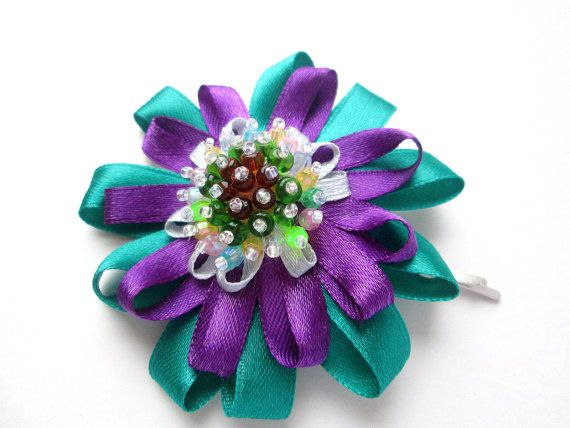 Miss Violet & Green Flower Beaded by MadiReShop on Etsy #hair #pin #accesories #flower