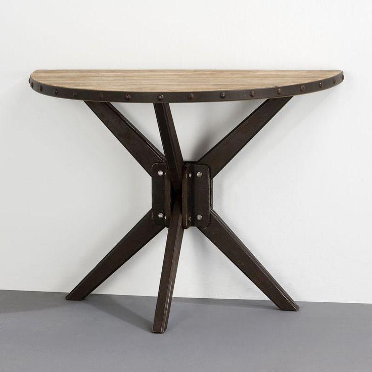 Resultado de imagen de mesa vidrio media luna madera