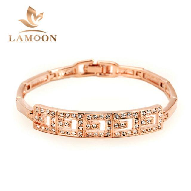 Różowe Złoto Kolor Bransoletka Biżuteria ITALINA Oryginalne Austriackie Kryształy Cyrkonia Hurtownie H034 H033