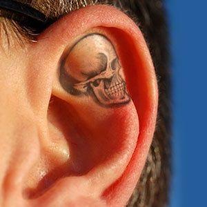 Skull Tattoo on Ear