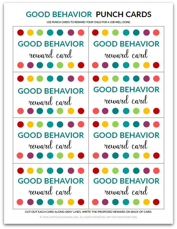 Pdf Good Behavior Punch Card Reward Card For Kids Behavior Punch Cards Behavior Cards Punch Cards