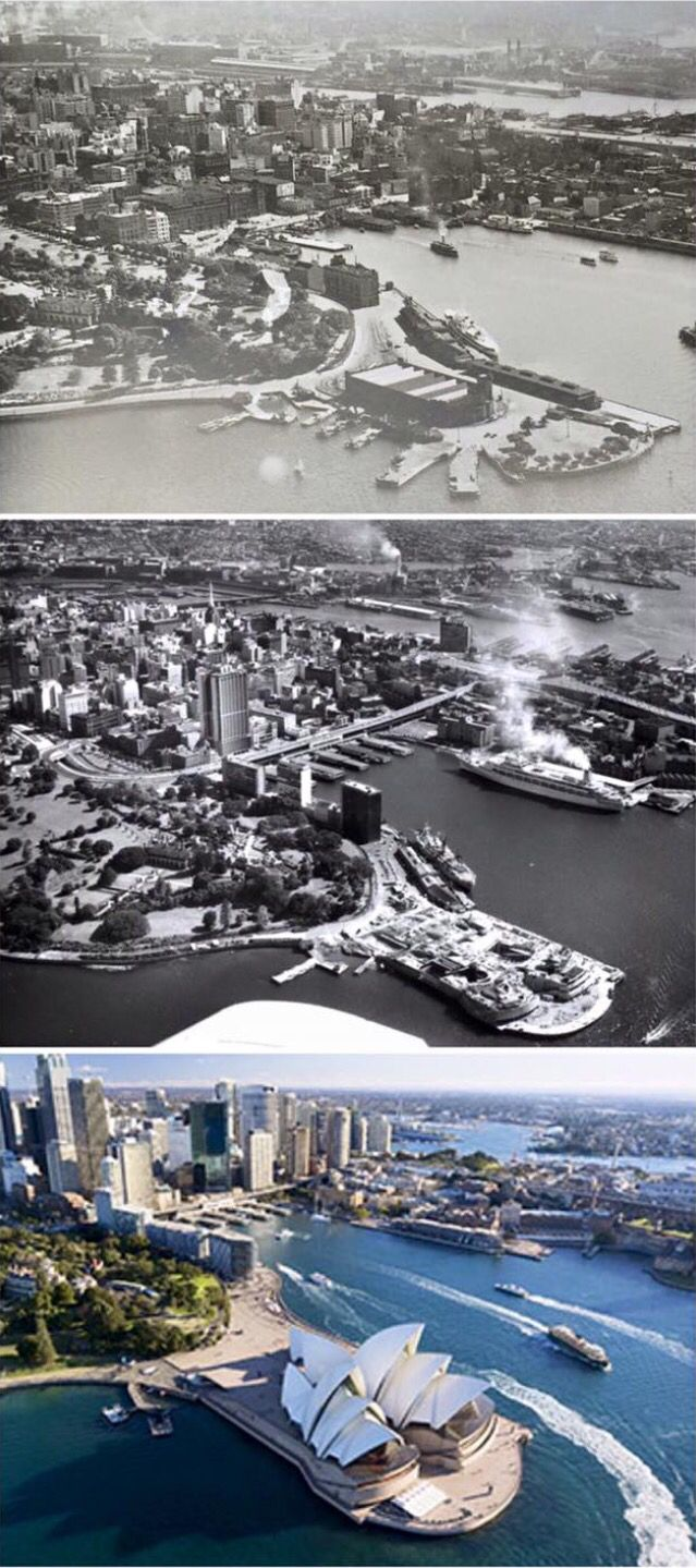 """Aerial shots of Circular Quay 1920s > 1962 > c2013 [1920s: Taken from the book """"A Pictorial History Old Sydney Way Back When"""" by Ian Collis 1962: National Library of Australia 2013: industry.nsw.gov.au By Curt Flood]"""