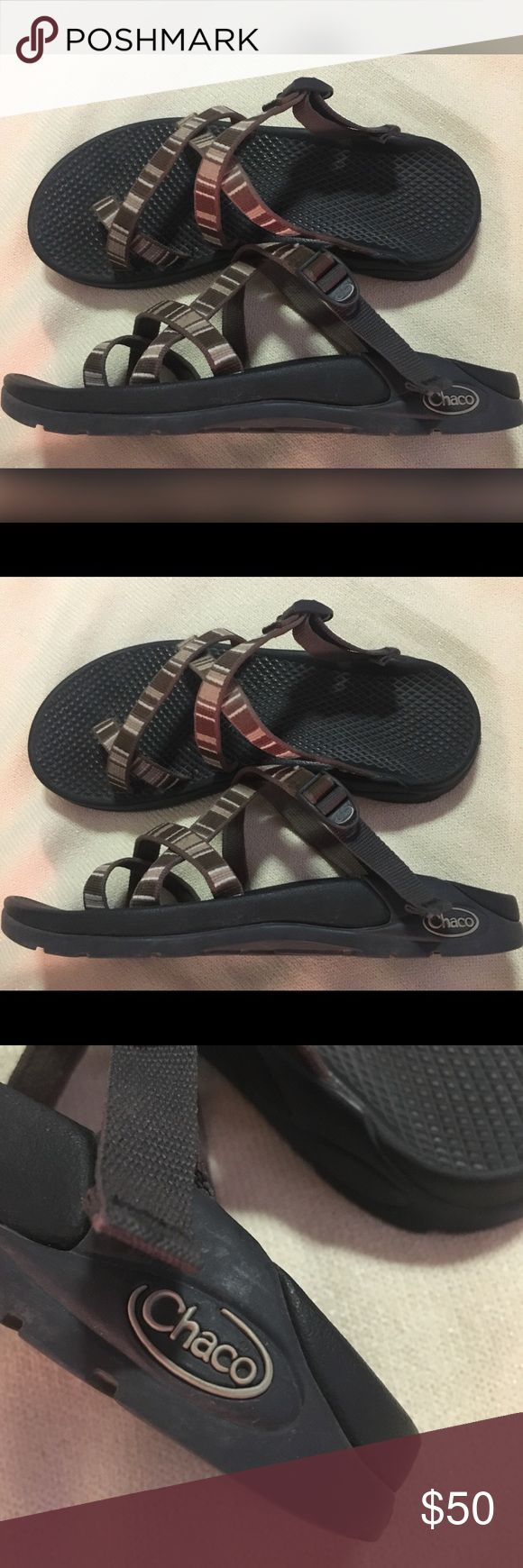 Chaco Brown and tan women's 7 Chaco tan and brown stripe shoe sz 7 Chaco Shoes Sandals