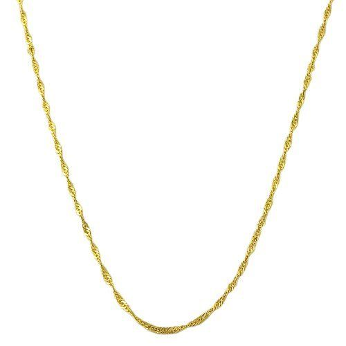 14 Karat Yellow Gold Filled 1-mm Singapore Chain (18 Inch) Kooljewelry. $7.99. An essential piece by itself or combined with your favorite pendant. Crafted in gold filled. Weighs 0.6 gram(s). Classic singapore chain makes a simple basic casual necklace. Comes with a comfortable spring ring closure. Save 71%!