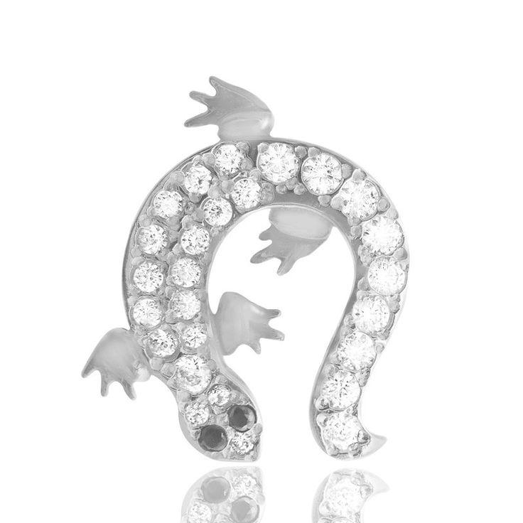 Piercing de nombril salamandre en or blanc 18 carats pavé de multiples brillants.