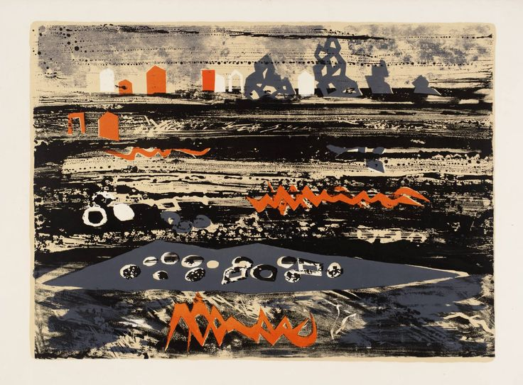 'Beach in Brittany' (1961-62) by British artist John Piper (1903-1992). Lithograph on paper, 473 x 645 mm. via the Tate