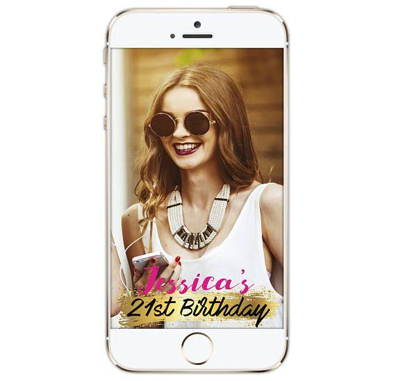 Snapchat Geofilter Birthday, Snapchat Birthday Geofilter, 21st Birthday, Gift for Her, Birthday Filter, Birthday Party, Personalized, 014
