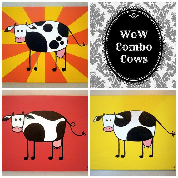 WoW Combo Cows ~ Set of acrylic paintings on canvas by MadCowzArt, €41.00  Cow Art