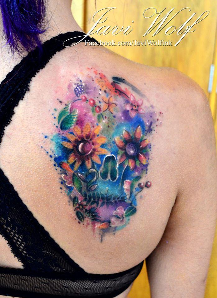 Flower skull by Javi Wolf