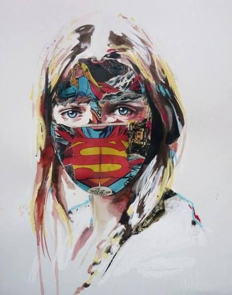 Sandra Chevrier, mixed media on canvas.