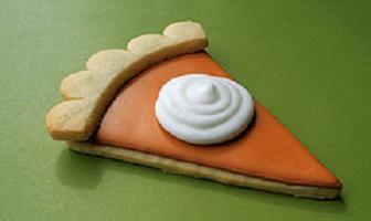 Pumpkin pie cookies. So fun! (You can add pumpkin pie spice to the sugar cookie dough if you want).