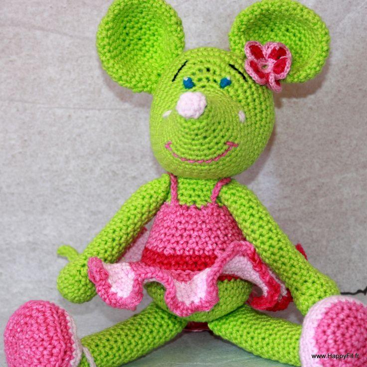 Coffret cadeau doudou souris + chausson ballerine en coton au crochet : Jeux, peluches, doudous par happyfil