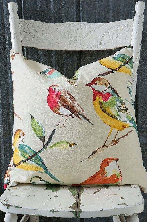 Spring vibrant bird pillow cover by OliverandRust on Etsy, $30.00