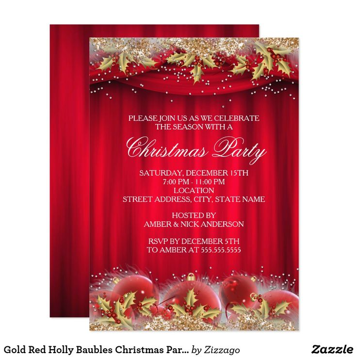 14 best christmas images on pinterest christmas parties gold red holly baubles christmas party invite stopboris Image collections