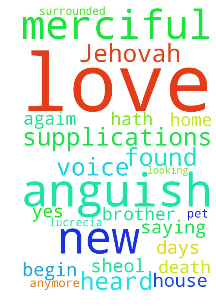 I love Jehovah, for He has heard My voice and my supplications; - I love Jehovah, for He has heard My voice and my supplications; For he hath inclined his ear to me therefore will I call upon him in all my days. I was surrounded by bonds of death, I found the anguish of Sheol, Anguish and pain I had found. Then I called on the name of the Lord, saying, O Lord, save my soul. God is merciful, and righteous yes, our God is merciful. Psalm 116 15 I have lost brother, he died. House, love, money…