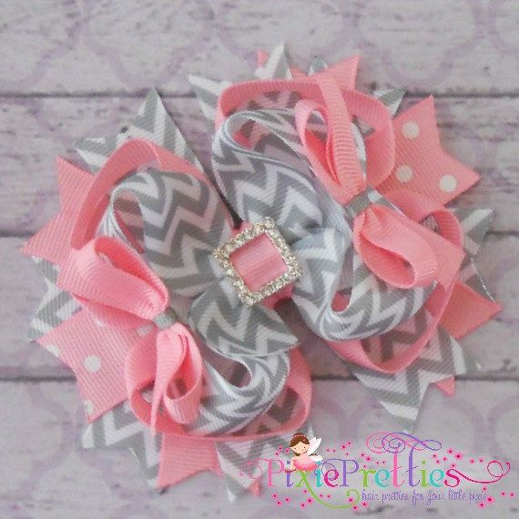 Pink and Grey Chevron Stacked Boutique Hair Bow by PixiePretties, $10.99