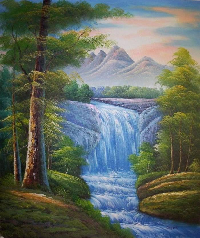 paintings of nature | Land, Sea & Nature Oil Painting #219:Nature Mountains Waterfall
