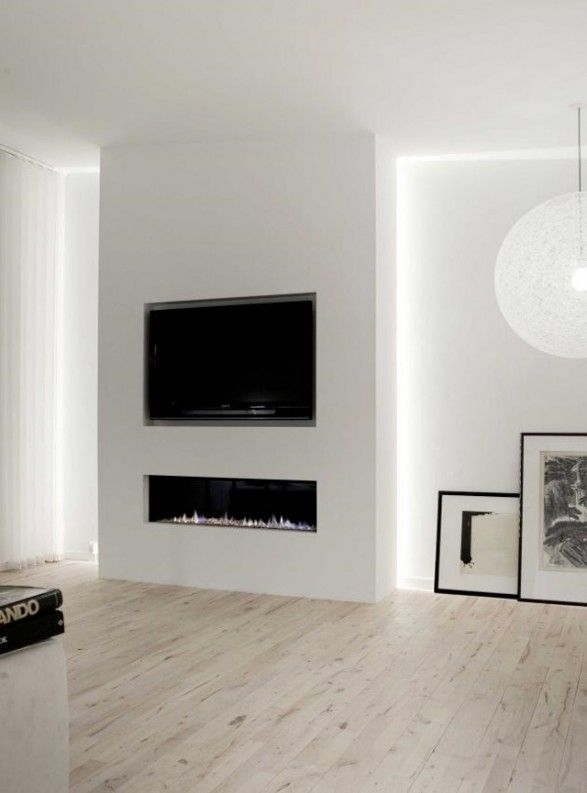 contemporary gas fireplace with TV above - Google Search