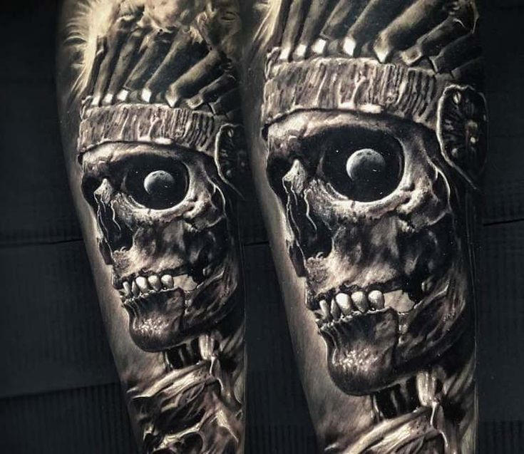 native american skull tattoo by vainius anomaly k233rky