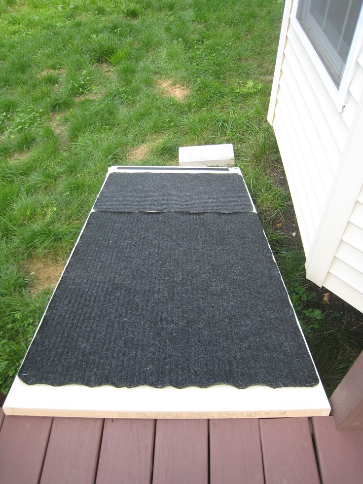 Dog Ramp From Repurposed Scratched Up Door ($5 From Loweu0027s) And Stapled On  Floor