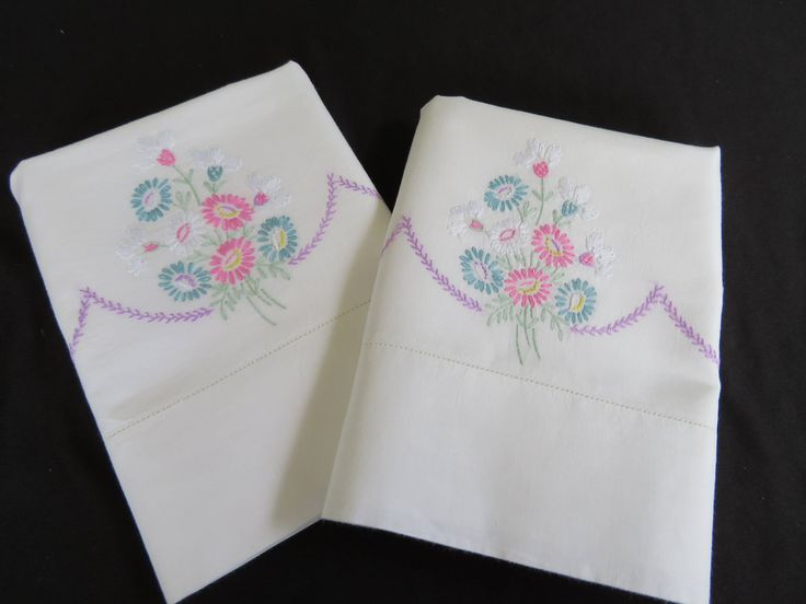 Excited to share the latest addition to my #etsy shop: Sweet Pair Vintage Embroidered Pillowcases Shabby Chic Girls Guest Room Bridal Gifts for her http://etsy.me/2HM3GRh #housewares #bedroom #bedding #white #housewarming #pink #teen #cotton #embroidery