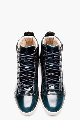 Diesel Deep Green Patent Brushed Diamond High-tops for men ...