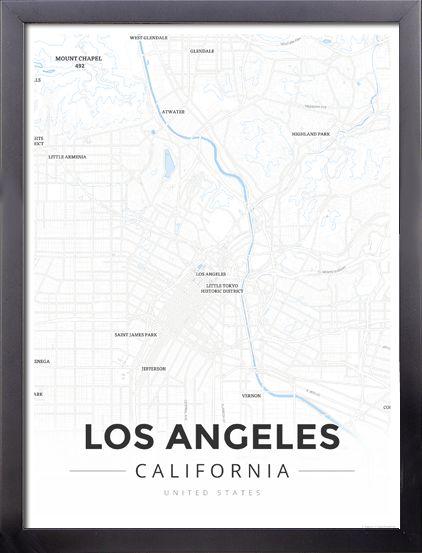 Framed Map Poster of Los Angeles California - Modern Ski Map - Los Angeles Map Art