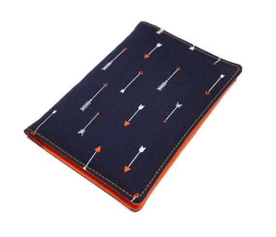 RESERVE étui papiers de voiture : carte grise assurance permis en tissu flèches et tissu orange