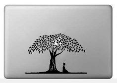 Buddha Under the Bodhi Tree vinyl decal, Buddhist symbol, Macbook Pro sticker, dcl159