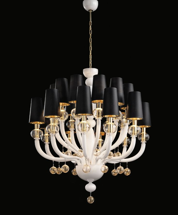 White glass Modern Murano Chandelier white gold lampshades DMMADML20K