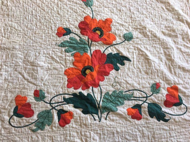 1938 великолепные маки с аппликацией старинный одеяло-зубчатый край | eBay