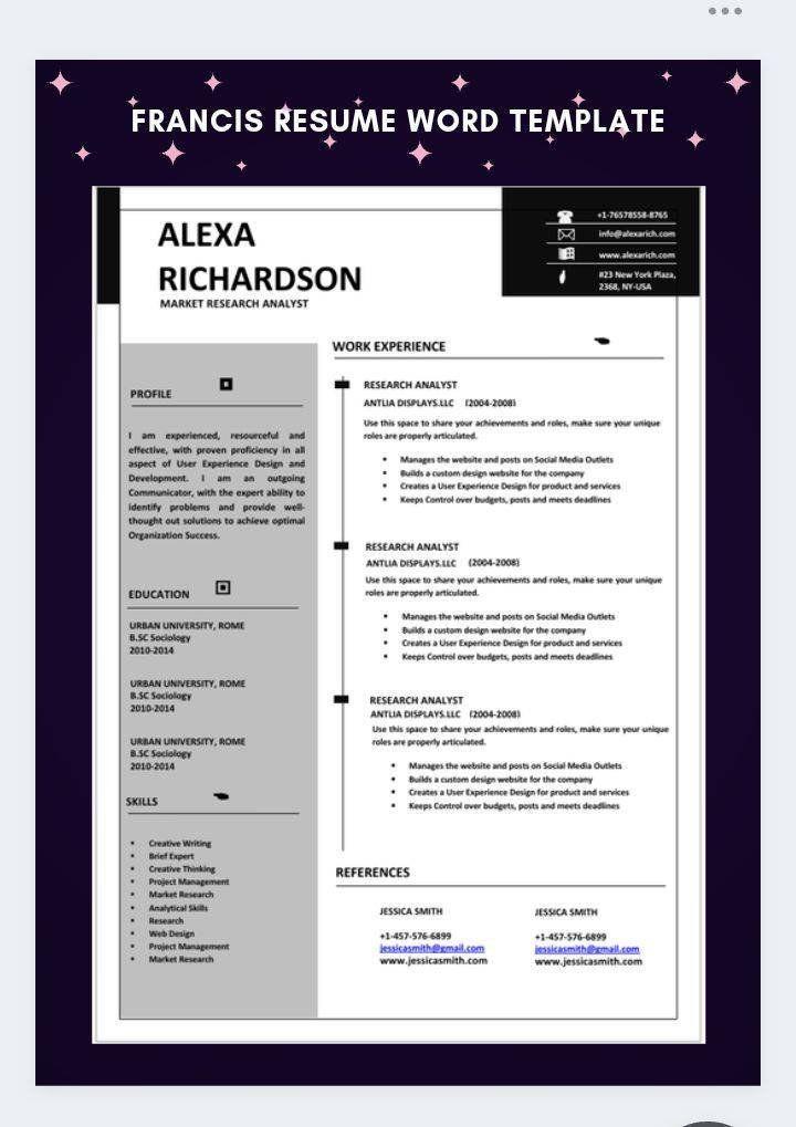 1 Page Resume Professional Cv Template Resume Template Ms Etsy Cv Template Professional Infographic Resume Resume Template