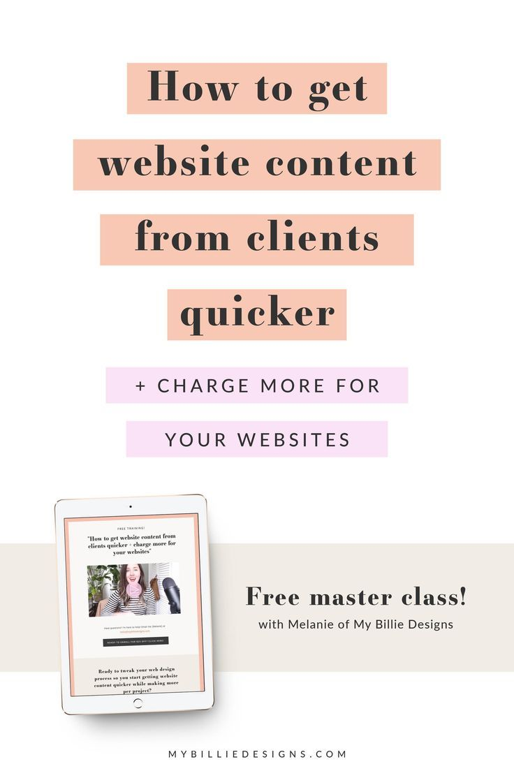 Free Video Training For Website Designers How To Get Website Content From Clients Quicker Charge Mo Website Content Website Copywriting Freelance Web Design