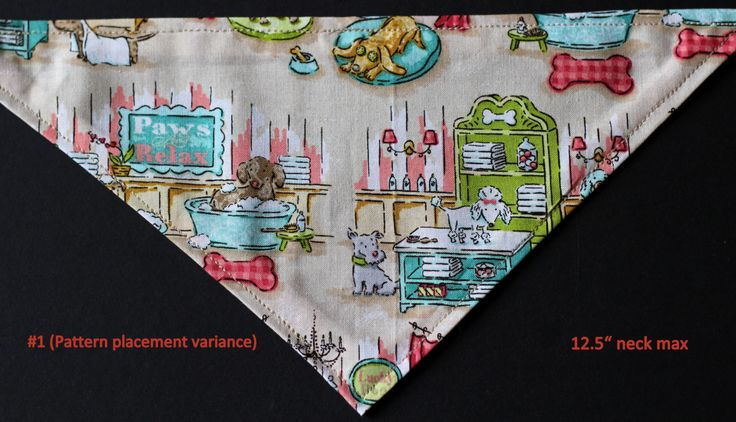 "Dog tie-on bandana with cute dog spa scene 12.5"" neck max by PuppyPawzBoutique on Etsy"