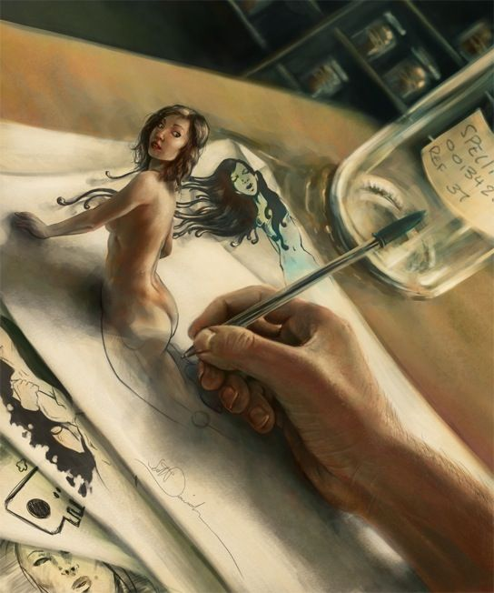 3D art by UK artist Scott Davidson...and the hand, pen and jar are painted. Incredible work.